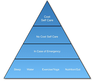 Blue pyramid divided into 4 sections, starting from bottom to top: Sleep, Water, Exercise/Yoga, Nutrition/Gut (above this) In Case of Emergency, (above this) No Cost Self Care, and on the top point of the pyramid: Cost Self Care.